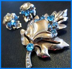 BARCLAY Brooch Earring Set 1940s Floral by BrightgemsTreasures