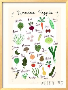 ABC Vegetable  Poster - 13 X19- Alphabet Art Print for kids and food lovers. $32.00, via Etsy.