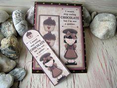 Chocolate Bookmark Card 6 x 8 Chocolate Cupcakes by 4SeasonCards, €6.50