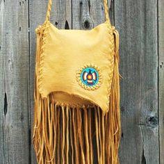 fringed purses | handbag with beaded thunderbird totem Beaded crossbody handbag Fringed ...