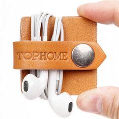 Earphone Holder Headphone Organizer Headphone Case Handmade Italian Leather Genuine Leather