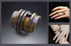 """silver and 22K gold *zen wrapped ring"""" has a small gem accent, chunky on the top but comfy to wear  patriciamccleery.com"""