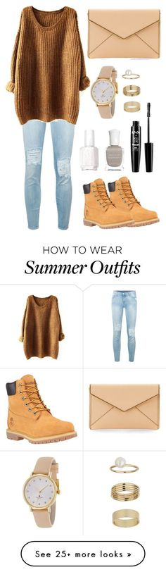 """Casual outfit: Timberlands"" by chaaaantelle01 on Polyvore featuring 7 For All Mankind, Timberland, Essie, Deborah Lippmann, NYX, Kate Spade, Miss Selfridge and Rebecca Minkoff"