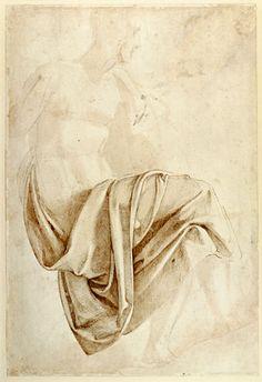 Titre de l'image : Michelangelo (Buonarroti) - Inv. 1887-5-2-118 Recto (W.10) Study of drapery
