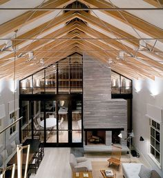 modern barn house with great trusses