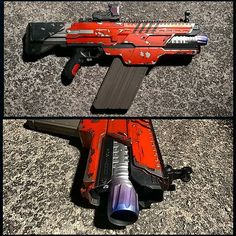 """Here's the last update photos before the Destiny-themed Khaos is finished!  Let me know what you think and especially the heat discoloration on the barrel.  I thought that was a nice touch, but your opinion counts here :) Thanks and if you have any questions on a commission, please email me at johnsonarms76@gmail.com!  Model: Nerf Rival """"Khaos""""  #nerf #nerfgun #nerfmods #nerfornothing #nerfnation #nerfwar #nerfwars #Destiny #destinythegame #hakke #destinycosplay #destinygundam…"""