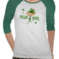 Irish Girl Leprechaun Hat Flag & Shamrock Clovers Tshirts