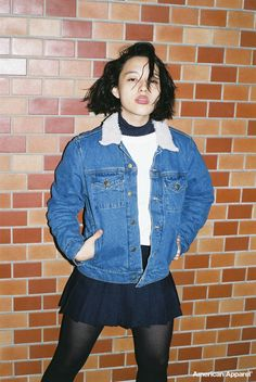Meg wears the Denim Sherpa Jacket with Knits, Pleats & Tights. Japan, October 2014. #AmericanApparel #AAFALL