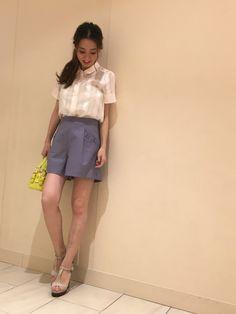 yukaさんのシャツ/ブラウス「JILLSTUART ラダーストライプ半袖シャツ」を使ったコーディネート