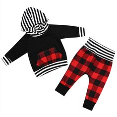 Red and Black plaid baby boy outfit. Hooded sweatshirt and plaid pants.