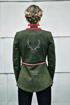 Jacke Leinen grün - Mirabell Plummer Mandarin Collar, Linen Fabric, Jackets
