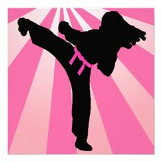 Taekwondo Girls Birthday Party Personalized Announcement