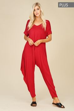 987387b18b9 Plus Size Roll Up Sleeve Jumpsuit Style  J8051X  16.00 Plus size knit  jumpsuit featuring solid