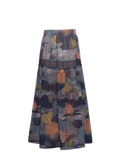 SEE BY CHLOÉ Dotted Tree-Print Crepe Skirt. #seebychloé #cloth #skirt