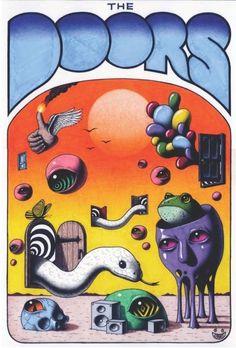 "jimmy-alonzo-world: "" The Doors poster "" Trippy Wallpaper, Retro Wallpaper, Kunst Inspo, Art Inspo, Art And Illustration, Trippy Painting, Hippie Painting, Posca Art, Funky Art"