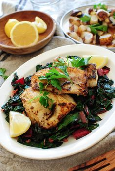 Seared Cod with Swiss Chard and Roasted Turnips - Bev Cooks