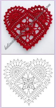 Crochet Heart Motif - Free Crochet Diagram - Then just add your…pretty crochet heart by Stoeps; i like the miniature flower budsDiscover thousands of images about pretty crochet heartPatrones Crochet Corazones San Valentin - Crochet and KnitDelicad Filet Crochet, Crochet Doily Patterns, Crochet Diagram, Crochet Chart, Thread Crochet, Crochet Stitches, Stitch Patterns, Knitting Patterns, Crochet Doilies