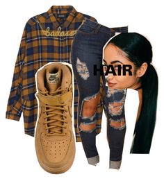 A fashion look from June 2016 featuring grunge flannel shirts, blue colour jeans and kris nations necklace. Browse and shop related looks. Baddie Outfits For School, Swag Outfits For Girls, Cute Swag Outfits, Tomboy Outfits, Chill Outfits, Teen Fashion Outfits, Teenager Outfits, Dope Outfits, Stylish Outfits