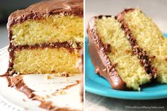 Yellow Butter Cake with Malted Chocolate Buttercream Frosting | http://shewearsmanyhats.com/butter-cake-chocolate-malt/