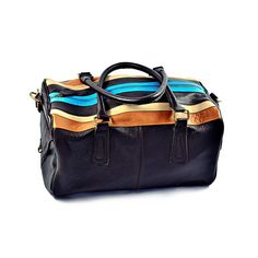 Palermo Duffle Bag/ Sportsbag Brown and Stripes by Roque Bags