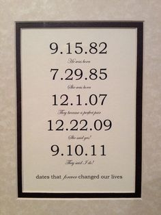 Framed & Matted Custom Date Art Print - Personalized Anniversary Engagement or Wedding Present. Custom Family - Special Dates.  8x10 inch.. $32.99, via Etsy.