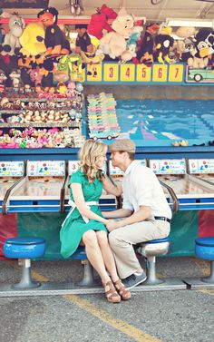 Vintage Inspired Carnival Engagement Session by Leah Moss Photography