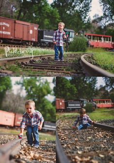 3 year old boy train tracks photo shoot. Bring a favorite toy to play. Pickleberry Photography: 3rd Birthday Session