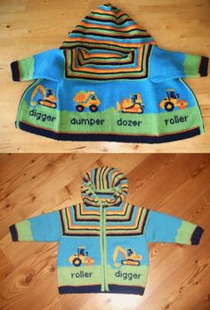 Diy Crafts - Boys construction digger zip up sweater.free knitting pattern My boy would love this, think I need more experience Knitting Patterns Boys, Baby Boy Knitting, Kids Patterns, Knitting For Kids, Crochet For Kids, Free Knitting, Knitting Projects, Crochet Baby, Baby Knits