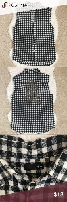 """Aqua Black-white Plaid & Skull Vest Aqua Black-white Plaid & Skull Vest. Unique skull design on the back. 30"""" from neck to hem. 100% cotton. Size XS. Aqua Jackets & Coats Vests"""