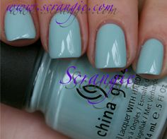 China Glaze Kinetic Candy. A pale baby blue creme with a hint of grey. This is a very light blue but it doesn't look 100% blue. It definitely has a bit of grey in it. It looks like clouds. Beautiful.