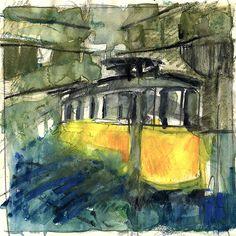 Electrico 28, Alfama, Lisboa (Portugal). Aquarelle, Neocolor II. Watercolor, Neocolor II.