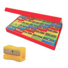 Eisen sharpeners contain the highest quality German blades and are safe for kids. Each single-hole sharpener measures approximately 1 x 5/8 x 1/2 inches and colors include red, green, yellow, and blue