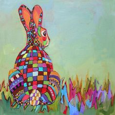 Daily Painting, Becoming Real, contemporary abstracted rabbit, painting by artist Carolee Clark Graphic Design Illustration, Illustration Art, Year Of The Rabbit, Clark Art, Rabbit Art, Bunny Art, Black Aesthetic Wallpaper, Fairytale Art, Needlepoint Canvases