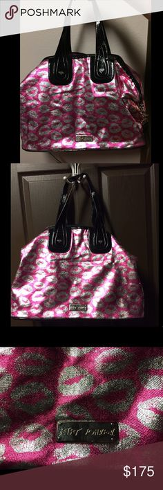 Betsy Johnson metallic lipstick print weekender Betsy Johnson metallic pink and silver lipstick print weekender bag. Large bag with pockets inside. Has both handles and large shoulder strap which is adjustable. Both made of patent leather. Gently used, with little to no signs of wear. In perfect condition. Betsey Johnson Bags Travel Bags