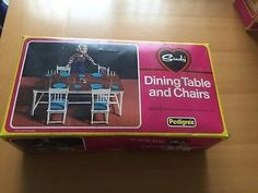 Vintage Sindy Pedigree Dining Table & Chairs boxed RARE.  £4.99