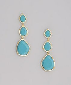 Love this Turquoise & Gold Drop Earrings on #zulily! #zulilyfinds