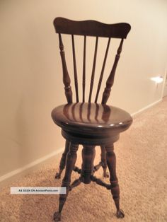 Charmant Antique Piano Stool W/back Seat Chair A. Merriam Co Acton Ma Glass Ball  Feet 1900 1950 Photo