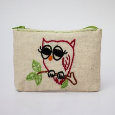 owl coin purse  embroidered pouch  hand embroidery on by NIARMENA