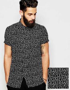ASOS+Shirt+In+Short+Sleeve+And+Diamond+Print