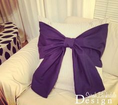 Bow Pillow Tutorial | Sarah Barksdale Design (burlap and tan stripes)