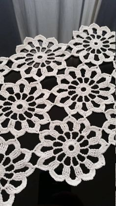 120 cm inches long crocheted table runner crochet tablecloth crocheted table cloth flower white lace cotton table linen large doily Beautiful brand new large flowers white crochet table runner. Crochet Fabric, Crochet Doily Patterns, Crochet Squares, Crochet Home, Thread Crochet, Crochet Motif, Crochet Doilies, Easy Crochet, Crochet Flowers