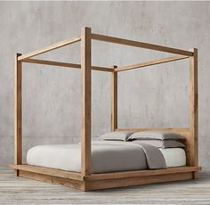 Reclaimed Russian Oak Four-Poster Bed