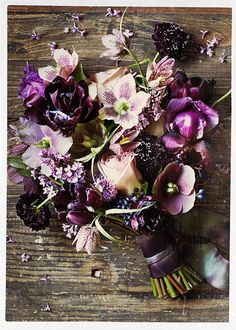 Wedding bouquet ideas - How about this for a pretty purple wedding bouquet? Tulips and Hellebore make a fabulous purple bridal posy. Purple Wedding, Floral Wedding, Wedding Flowers, Aubergine Wedding, Wedding Bride, Floral Bouquets, Wedding Bouquets, Purple Bouquets, Bridesmaid Bouquets