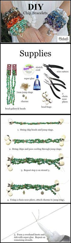 Gemstone chip bead stacking bracelets