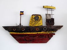 Barco, boat, hierro, madera, drift wood, Assemblages