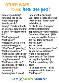"LIST: Other ways to ask ""how are you?"" LIST: Other ways to ask ""how are you? English Learning Spoken, English Speaking Skills, Teaching English Grammar, English Writing Skills, Learn English Words, English Language Learning, English Study, English Lessons, French Lessons"