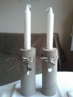 beton lysestager lavet i paprør