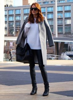 Draped to perfection with a white cable knit and leather leggings :StreetStyle NYFW