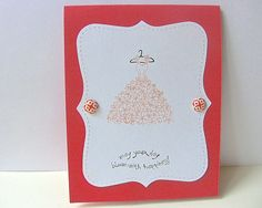 Fall Wedding Card Handcrafted Coral Bridal Shower by BayMoonDesign