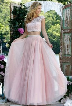 A-line Two Piece Lace Embroidered Bodice Tulle Prom Dress with Cap Sleeves